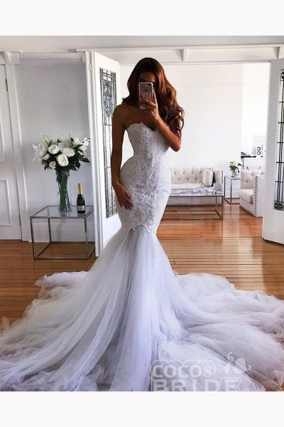 White Mermaid Sweetheart Sweep Train Tulle Lace Appliqued Wedding Dress_2