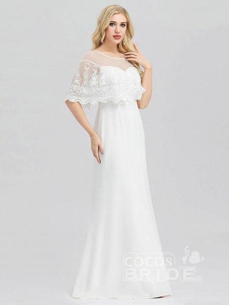 Modest O-Neck Zipper Floor-Length Mermaid Wedding Dresses_4