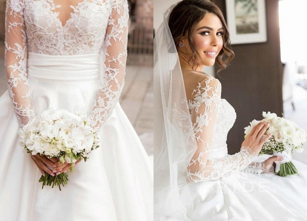 Romantic Lace Satin Skirt with Long Sleeves Illusion Back Wedding Dress_3