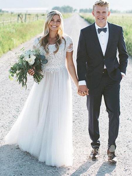 Elegant Short Sleeves Lace Tulle Wedding Dresses_3