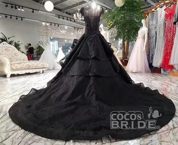Gorgeous Black Ball Gown Cap Sleeves Long Wedding Dress_3