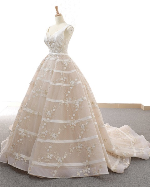 V Neck Long A-Line Ball Gown Wedding Dress_2