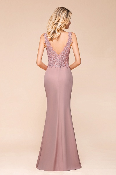 Dusty Pink Mermaid Lace Long Sleeveless Evening Gowns_6