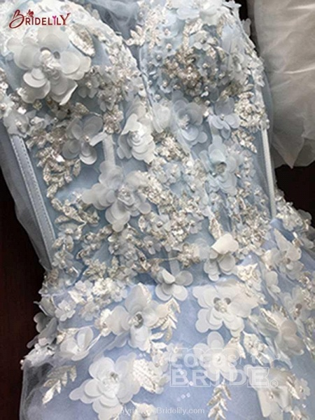 Awesome Appliques Tulle Ball Gown Wedding Dresses_3