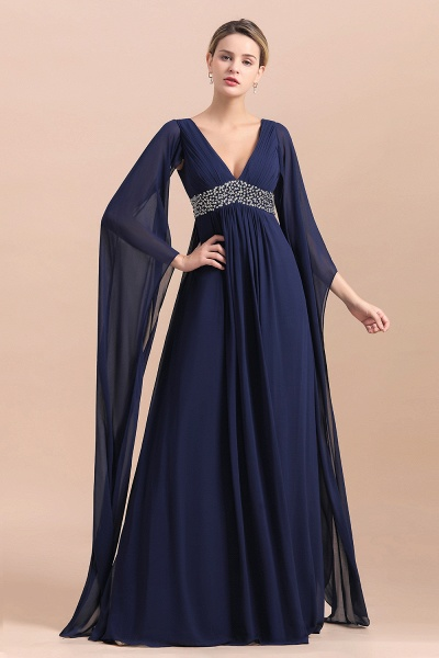 Long Sleeve Ruffles Beads Pearls Chiffon Mother Of the Bride Dress_5