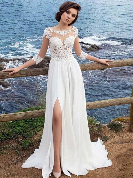 Half Sleeve Lace Appliques Wedding Dresses_1