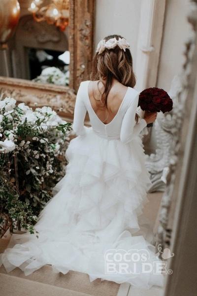 A-Line Sweep Train Tulle Long Sleeves Beach Wedding Dress_6