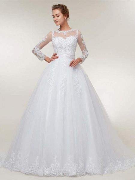 Elegant Long Sleeves Lace Detachable Train Ball Gown Wedding Dresses_1
