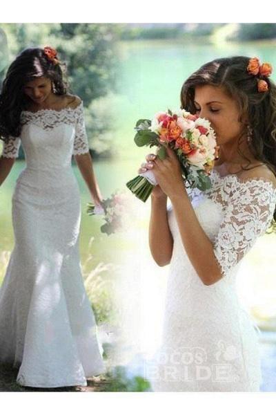 Mermaid Off-the-Shoulder Half Sleeves Lace Vintage Trumpet Wedding Dress_2