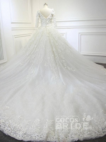 Luxury V Neck Half Sleeves Lace Ball Gown Wedding Dresses_2