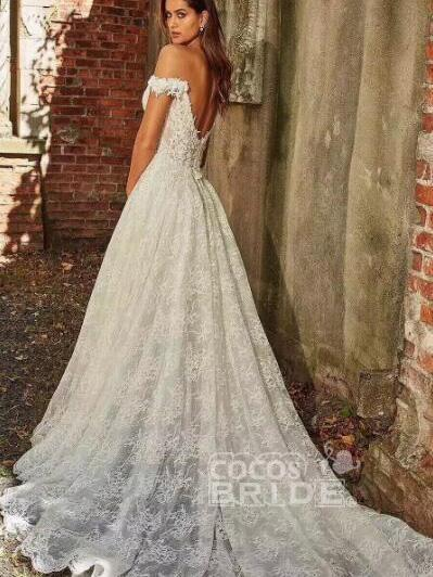 off-the-Shoulder Full Lace Wedding Dresses A-Line Lace Appliques with Court Train_2