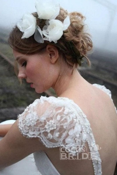 Romantic V Neck Cap Sleeves Chiffon Beach Wedding Dress_3