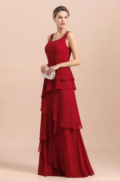 Elegant Burgundy Ruffles Chiffon Mother of the Bride Dress With Jacket_9
