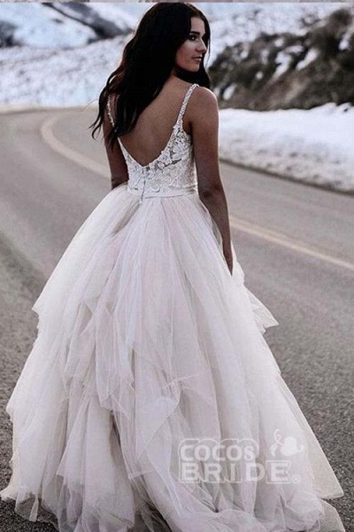 Charming Straps Lace Top Backless Tulle Asymmetrical Ivory Wedding Dress_2