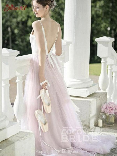 Romantic Spaghetti Strap Tulle Wedding Dresses_2