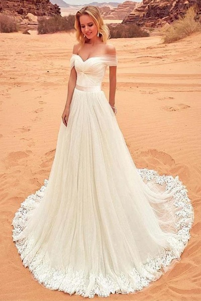 Charming Tulle Lace Boho Beach A-line Wedding Dress_1
