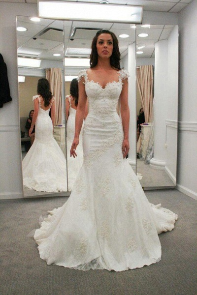 Sweetheart Cap Sleeves Backless Mermaid Gowns Beach Wedding Dress_1