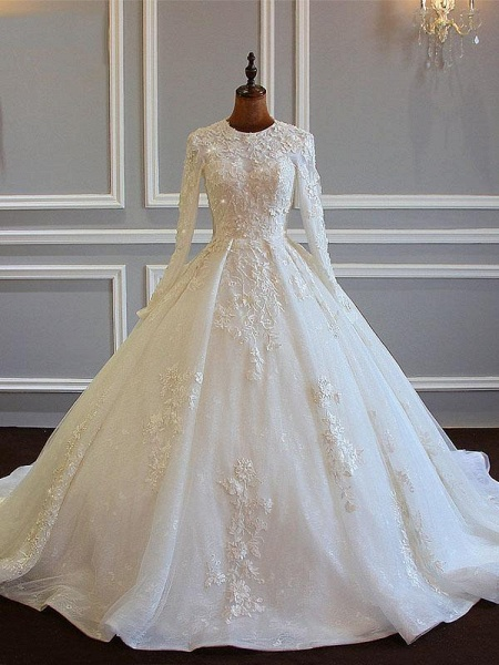 Long Sleeves Ball Gown Wedding Dresses With Lace Flowers_1