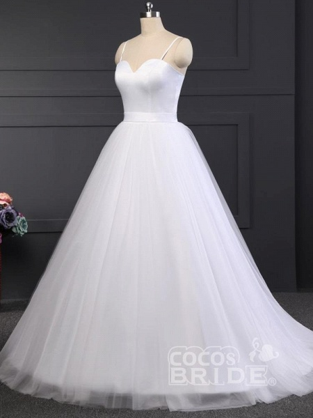 A Line Spaghetti Strap Beach Wedding Dresses White Tulle Bridal Gown_5