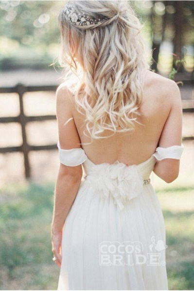 Simple Off the Shoulder Beach with Beading Waist Ivory Wedding Dress_2