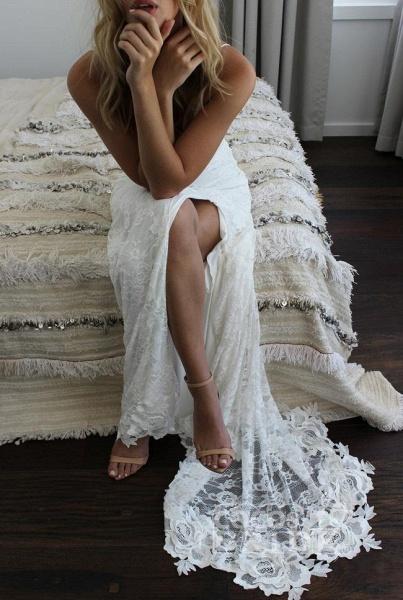 Romantic Boho Deep U Neck Backless Lace Mermaid Wedding Dress_4