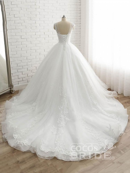 Lace-Up Tulle Ball Gown Wedding Dresses_4