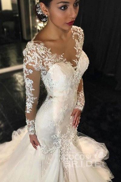 Gorgeous Long Sleeves Mermaid V-neck Gown Ivory Wedding Dress_2