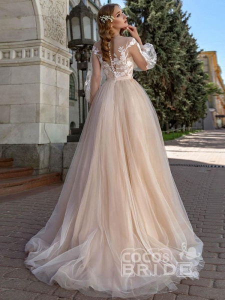 Long Sleeves A-line Appliques Tulle Wedding Dresses_3