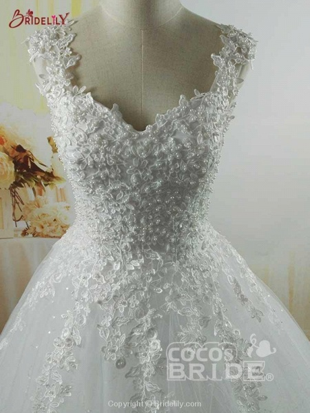 Spaghetti Straps Lace-Up Ball Gown Wedding Dresses_2
