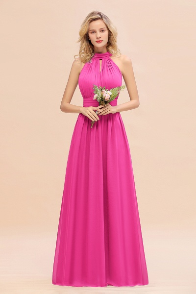 BM0758 Glamorous High-Neck Halter Bridesmaid Affordable Dresses with Ruffle_9