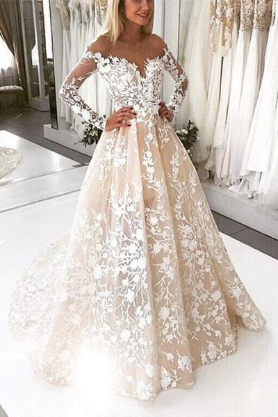 A Line Lace Tulle Open Back Long Sleeves Wedding Dress_1