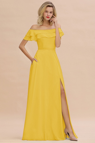 BM0775 Off-the-Shoulder Front Slit Mint Green Long Bridesmaid Dress_17