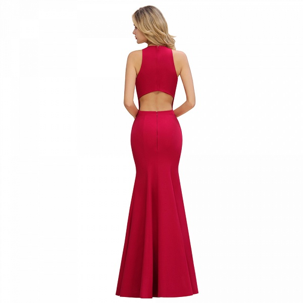 Red Mermaid Halter Prom Dress Long Evening Gowns_12