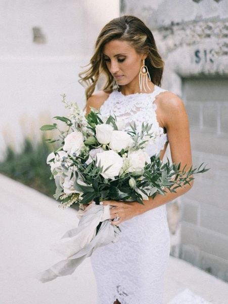 Elegant Lace Fit and Flare Strapless Beach Wedding Dress_1
