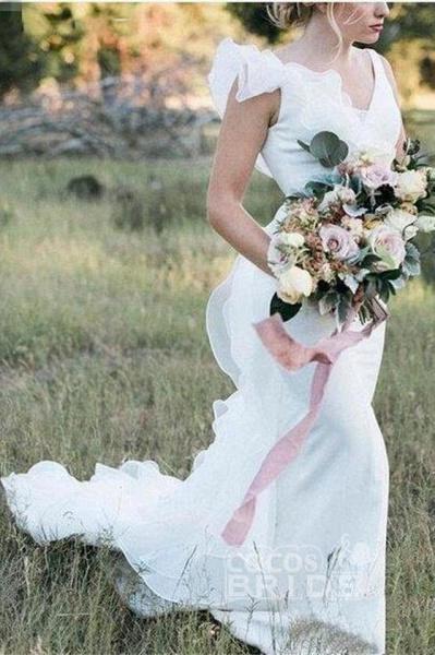V Neck Backless Mermaid White Long Simple Wedding Dress_3