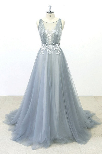 Gray Tulle Round Neck Sweep Train Beach Wedding Dress_1