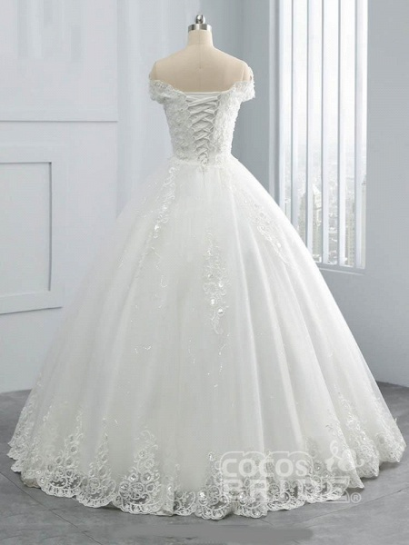 Off-the-Shoulder Lace Sequins Ball Gown Wedding Dresses_2