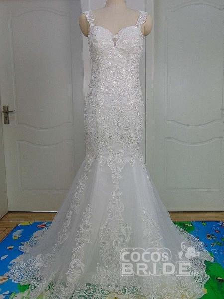 Unique Lace Appliques Mermaid Wedding Dresses_4