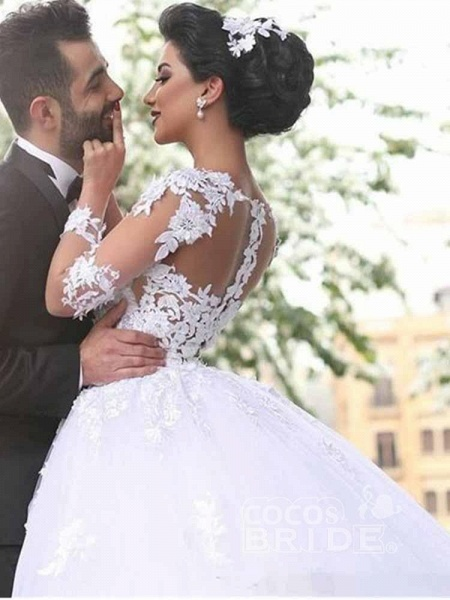Long Sleeves Lace Ball Gown Wedding Dresses_2