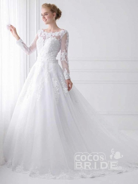 Long Sleeves Lace Ribbon Ball Gown Wedding Dresses_2