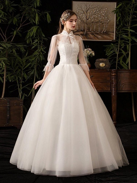 Gorgeous High Collar 3/4 Sleeve Lace-Up Ball Gown Wedding Dresses_1