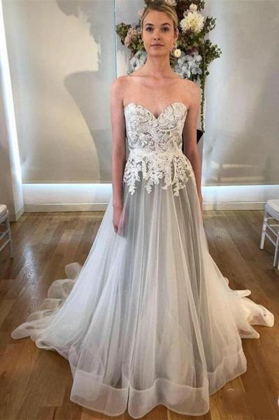 Cheap Sweetheart Neck A Line Silver Grey Long Appliqued Wedding Dress_1