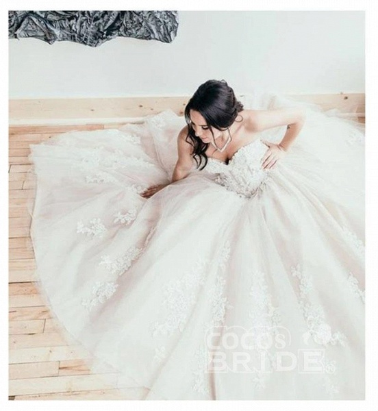 Floor Length Sweetheart Tulle Wedding with Lace Appliques Long Dress_4