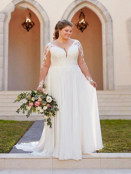 V Neck Appliques Lace Long Sleeve A Line Wedding Dresses_1