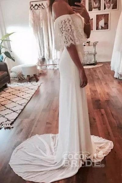 Cheap Country Beach Lace Chiffon Dress Bohemian Wedding Dresss_3