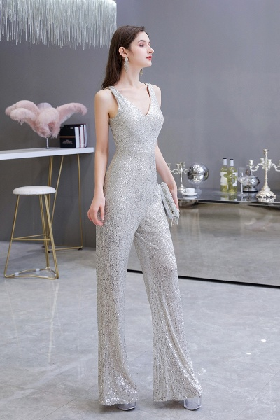 Sexy Shining V-neck Sleeveless Prom Jumpsuit with Silver Sequins_7