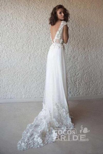 Ivory Cap Sleeve V Neck Beach Boho Appliques Wedding Dress_2