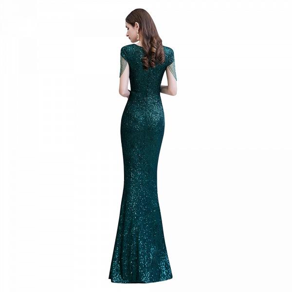 Elegant Cap Sleeve Green Sequins Long Prom Dress_11