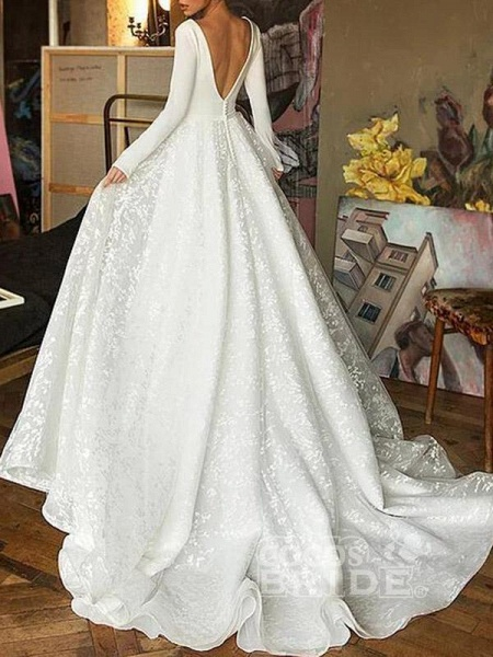 Elegant V-Neck Covered Button A-Line Wedding Dresses with Long Sleeves_3