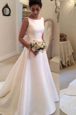 Classic Satin A Line Long Backless Wedding Dress_1